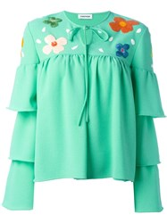 Au Jour Le Jour Tiered Sleeve Embroidered Blouse Green