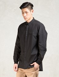 Black L S Elongated Button Down Shirt