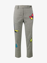 Mira Mikati Butterfly Applique Houndstooth Trousers Multi Coloured Denim