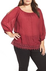 Bobeau Plus Size Women's Cold Shoulder Lace Trim Top Ruby Tinto