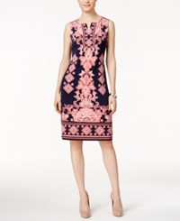 Jm Collection Printed Sheath Dress Only At Macy's Pink Navy