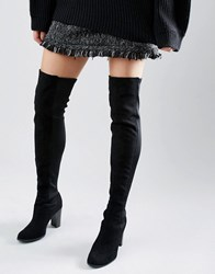 New Look Suedette Mix Over The Knee Suede Boots Black