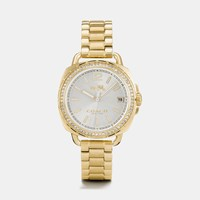 Coach Tatum Gold Tone Sunray Dial Set Bracelet Watch Gold Plated