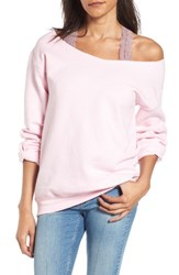 Ten Sixty Sherman Women's Off The Shoulder Sweatshirt Light Pink