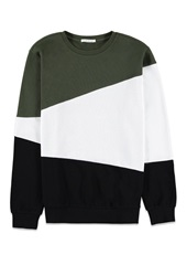 Forever 21 Asymmetrical Colorblock Sweatshirt Olive White