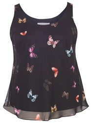 Chesca Small Butterfly Print Camisole Black Multi