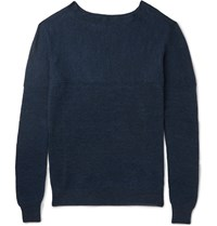 Bottega Veneta Slim Fit Ribbed Linen And Wool Blend Sweater Indigo