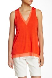 14Th And Union V Neck Contrast Trim Tank Petite Red