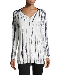 Neiman Marcus Tie Dye V Neck Cotton Tunic White Black