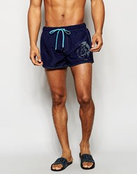 Diesel Reversible Swim Shorts In Shorter Length Blue
