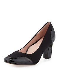 Taryn Rose Cambridge Patent Stretch Fabric Pump Black