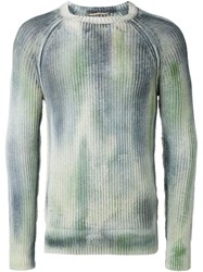 Nuur Faded Effect Crew Neck Jumper Green