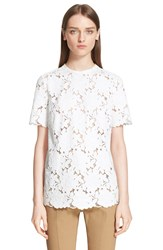 Lanvin Short Sleeve Lace Blouse White