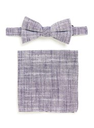Topman Grey Chambray Bow Tie And Pocket Square Set Blue
