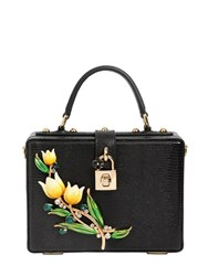 Dolce And Gabbana Tulips Embossed Leather Box Bag