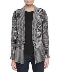 Indikka Graphic Print Relaxed Jacket Black White