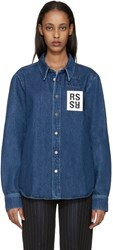 Raf Simons Indigo Denim Logo Patch Shirt