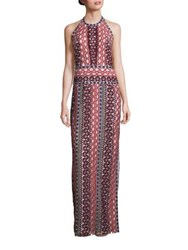 Tory Burch Beauvoir Lace Halter Gown Multi