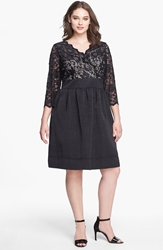 Eliza J Mixed Media Fit And Flare Dress Plus Size Black