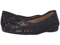 Trotters Sizzle Black Washed Metallic Microfiber Suede Women's Dress Flat Shoes