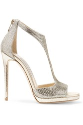 Jimmy Choo Lana Glittered Twill Sandals Gold Metallic