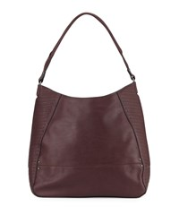 French Connection Dakota Faux Leather Hobo Bag Biker Berry
