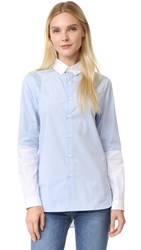 Marie Marot Charlie White Half Sleeve Top Blue Sky White