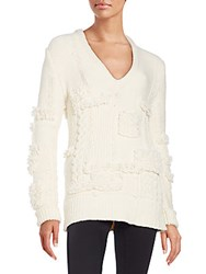 Nina Ricci Textured Wool Blend V Neck Sweater Natural