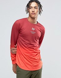 Hype Long Sleeve T Shirt In Red Gradient Red
