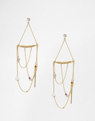 Orelia Statement Draped Earrings Pale Gold