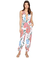 Mara Hoffman Arcadia Wrap Jumpsuit White Pink Women's Jumpsuit And Rompers One Piece