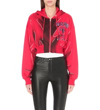 Moschino Graphic Print Jersey Cropped Hoody Red
