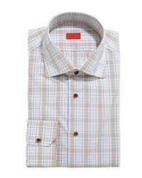 Isaia Graph And Windowpane Check Dress Shirt Brown Aqua Blue