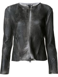 Giorgio Brato Crackle Leather Jacket Black