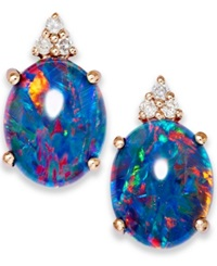 Macy's 14K Rose Gold Earrings Opal Triplet And Diamond Accent Earrings