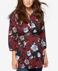 A Pea In The Pod Maternity Floral Print Belted Tunic Burgundy Floral Prnt