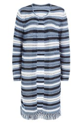 Lucien Pellat Finet Striped Knit Cardigan Blue