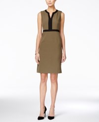 Kasper Colorblocked Sheath Dress Loden Black