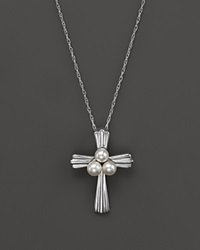 Bloomingdale's Cultured Freshwater Pearl Cross Necklace In 14K White Gold 18 Silver White