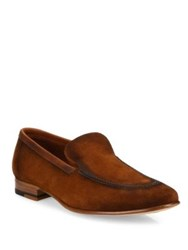 A. Testoni Brandy Burnished Suede Loafers