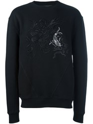 Amen Abstract Embroidery Sweatshirt Black