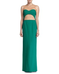 Michael Kors Sheer Back Cutout Column Gown Emerald Green
