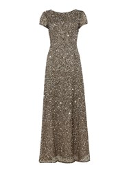 Adrianna Papell Petite Cap Sleeve All Over Sequin Gown Gunmetal