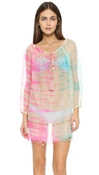 Juliet Dunn Tie Dye Cover Up Orange Fuchsia Turq