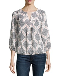 Laundry By Shelli Segal Printed 3 4 Sleeve Boho Top White Black Red