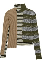 Maison Martin Margiela Striped Ribbed Wool Blend Turtleneck Sweater Green