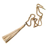 Bouchard Design Co. Leather Tassel And Vintage Brass Chain Necklace Tan