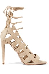 Aquazzura Amazon Lace Up Suede Sandals