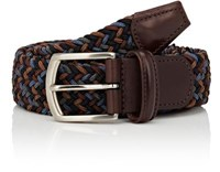 Barneys New York Men's Woven Elastic Belt Brown Blue Black Brown Blue Black