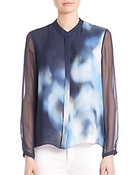 Elie Tahari Chelsea Sheer Long Sleeve Silk Blouse Stargazer
